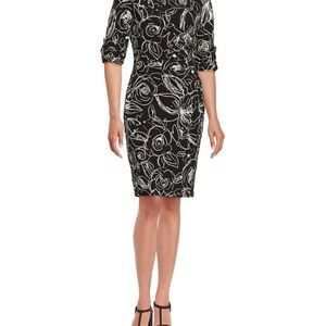 Karl Lagerfeld Ruched Floral Pattern Dress
